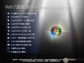 【Win7旗艦版64位】Wn7 64位系統極速優化萬能裝機版V2019.7